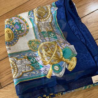 トラサルディ(Trussardi)のトラサルディシルクスカーフ紺色系(バンダナ/スカーフ)