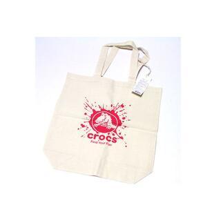 クロックス(crocs)のクロックス/crocs トートバッグ●生成り●ピンク●綿●マチ付き(トートバッグ)