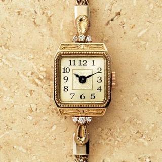 アガットクラシック腕時計スクエアフェイスジュエリーウォッチ