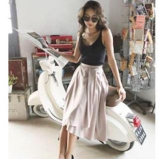 アリシアスタン(ALEXIA STAM)のリブジョア ニュアンスフレアミディスカート スカート フリル(ロングスカート)