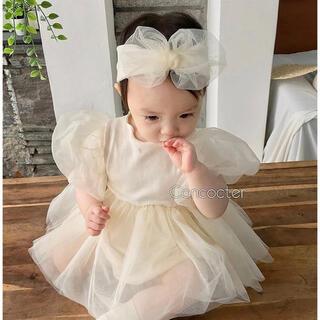 Caramel baby&child  - 韓国子供服 ヘアバンド 付き ガーリーシフォンワンピース ベビー レース 白