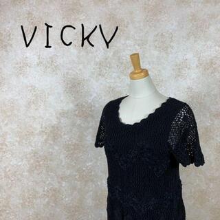 ビッキー(VICKY)のVICKY ビッキー ロングワンピース レース ブラック サイズM(ロングワンピース/マキシワンピース)