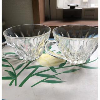 昭和レトロ クリアガラスのカップ 2客 コーヒー紅茶カップ(ガラス)