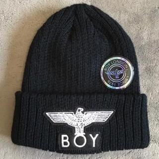 ボーイロンドン(Boy London)のBOY LONDON ビーニー ニットキャップ ニット帽 ブラック ホワイト(ニット帽/ビーニー)