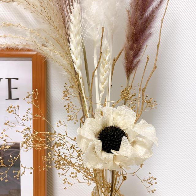 パンパスグラス テールリード すすき 北欧 韓国インテリア ゴールド ハンドメイドのフラワー/ガーデン(ドライフラワー)の商品写真