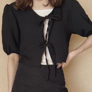 エディットフォールル(EDIT.FOR LULU)のbownot blouse black(カーディガン)