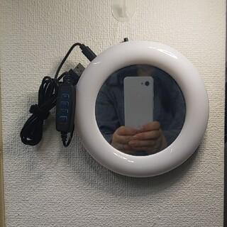 【うみさん専用】鏡付きLEDリングライトのケーブル 10段階調光(ストロボ/照明)