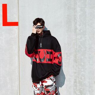L バイカラー 韓国 パーカー ビッグロゴ メンズ 黒 ユニセックス 人気(パーカー)