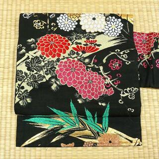 黒地に菊や竹 アンティーク名古屋帯(帯)
