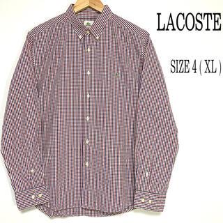 ラコステ(LACOSTE)のLACOSTE ラコステ チェックシャツ 刺繍ロゴ XL(シャツ)