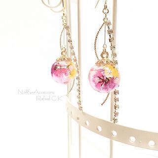 ⿻New⿸小さな結晶in 2層ピンク ロング ハーバリウム ピアス/イヤリング(ピアス)