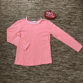 アーヴェヴェ(a.v.v)のa.v.v 120㎝ 花ワッペン ピンク色 カットソー 綿100%(Tシャツ/カットソー)