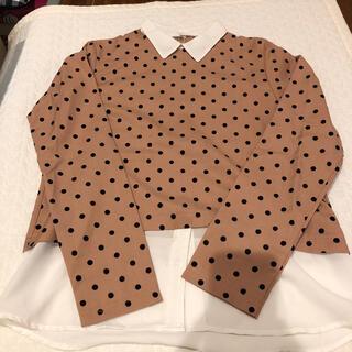 ジーユー(GU)のGU ドッキングシャツ 重ね着風 ドット レディース トップス ブラウス シャツ(シャツ/ブラウス(長袖/七分))
