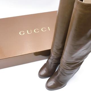 Gucci - グッチ GUCCI ロングブーツ カーフスキン オリーブ 22cm 美品