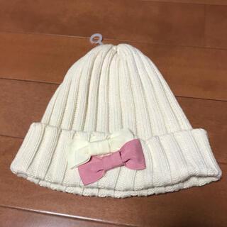 ジーユー(GU)の①GU【オフホワイト】リボン付きベビーニット帽(帽子)