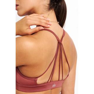 Alo yoga sunny strappy スポーツブラ アーストーン xs(ヨガ)