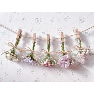 3種のピンクのバラとかすみ草のパステルドライフラワーガーランド♡スワッグ♡ブーケ(ドライフラワー)