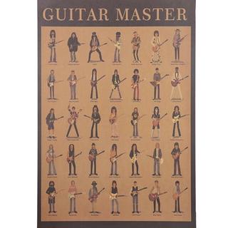 ポスター 001 歴代有名ギタリスト一覧 レトロ GUITAR MASTER(その他)