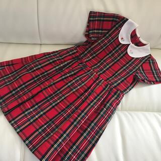 mikihouse - ☆日本製☆ミキハウス白襟赤いチェック刺繍ワンピース110㌢