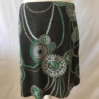 マリークワント(MARY QUANT)の美品マリークワントロンドン、ウールアンゴラ混台形、花柄スカート、サイズM、9号。(ひざ丈スカート)