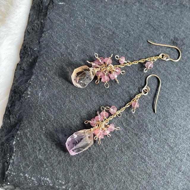 14kgf  アメトリンラフドロップ ピンクスピネル ハンドメイドのアクセサリー(ピアス)の商品写真