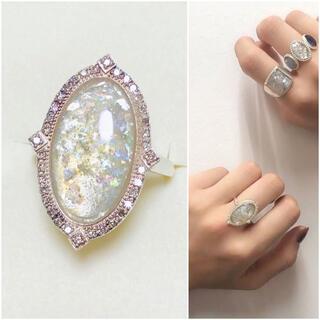 アガット(agete)のagete アガット ローマンガラス ダイヤモンド リング #11(リング(指輪))