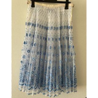 コムデギャルソン(COMME des GARCONS)のトリココムデギャルソン tricot チュール 刺繍 スカート 花  プリーツ(ロングスカート)