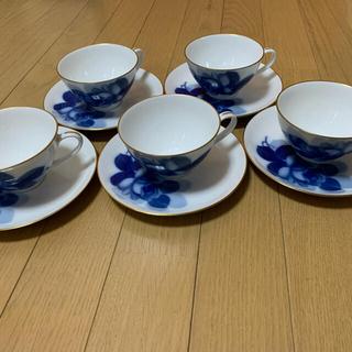 オオクラトウエン(大倉陶園)の大倉陶器 ブルーローズ カップ&ソーサー 5客セット(グラス/カップ)