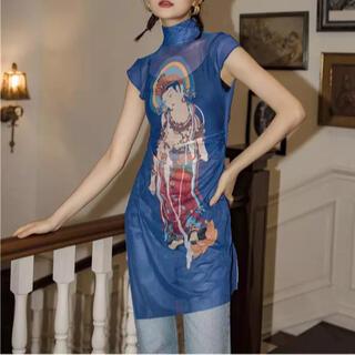 ヴィヴィアンタム(VIVIENNE TAM)の✧神々しい仏様✧オリエンタルメッシュTOP✧(Tシャツ(半袖/袖なし))