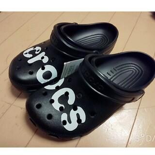 crocs - crocs サンダル 黒 22