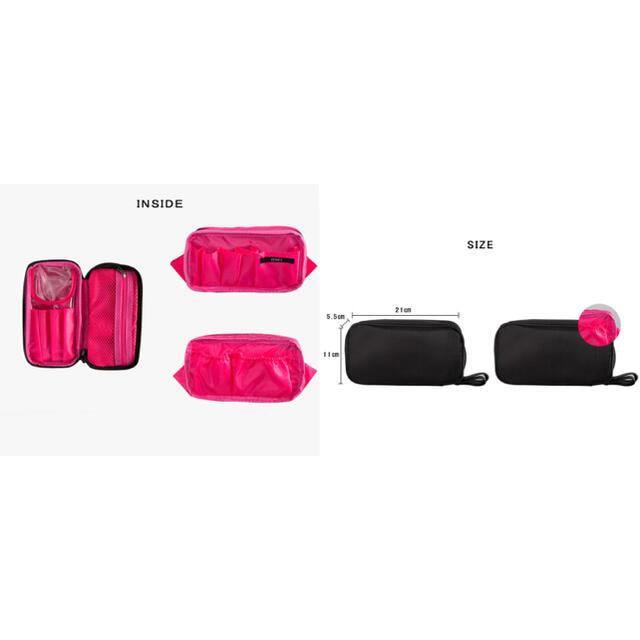 コスメポーチ 化粧ポーチ ポーチ ブラシポケット ブラック ピンク 大容量 新品 コスメ/美容のメイク道具/ケアグッズ(メイクボックス)の商品写真