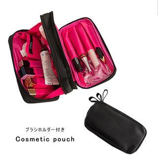 コスメポーチ 化粧ポーチ ポーチ ブラシポケット ブラック ピンク 大容量 新品(メイクボックス)