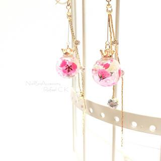⿻New⿸小さな桜の花びらin 2層ピンクオイル ロングピアス/イヤリング(ピアス)