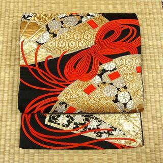 黒地に金糸の扇 アンティーク袋帯(帯)