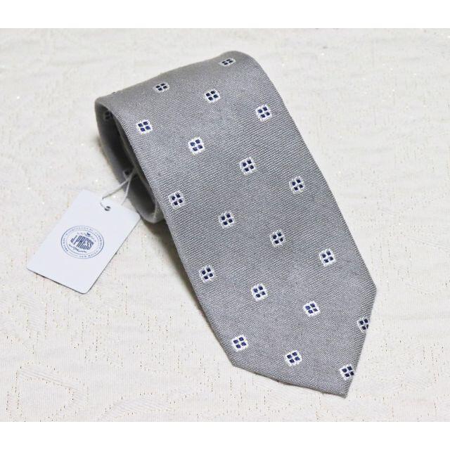 J.PRESS(ジェイプレス)の新品【ジェイ・プレス】シルク100% ハンドメイド ドット柄 ネクタイ 灰 メンズのファッション小物(ネクタイ)の商品写真