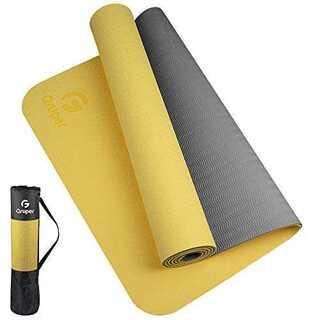 黄灰色+収納袋Gruper ヨガマット 6mm エクササイズマット フィットネス(ヨガ)