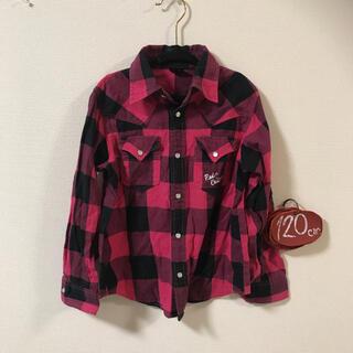 ラッドカスタム(RAD CUSTOM)のラッドカスタム 120㎝ ピンク チェック柄シャツ(Tシャツ/カットソー)