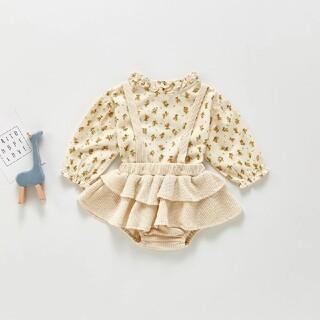 【新品未使用】韓国子供服 フリル付きブルマサロペット ロンパース(スカート)