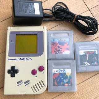 ゲームボーイ - 任天堂 GAME BOY 初代 本体+ソフト3本 ACアダプタ付 動作確認済み