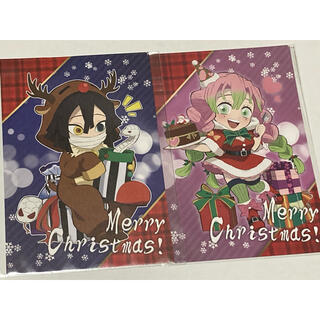 鬼滅の刃 カフェ クリスマスポストカード 伊黒小芭内 甘露寺蜜璃(キャラクターグッズ)