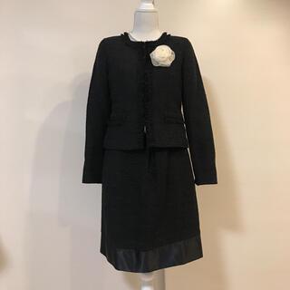 極美品♡上品ノーカラー ツイードスーツ 大きめサイズ ブラック(スーツ)