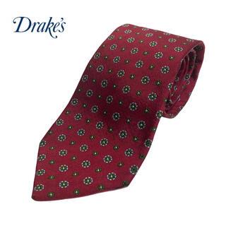 ドレイクス(DRAKES)の美品 イギリス製 Drakes ドレイクス ネクタイ 小紋柄 ワインレッド(ネクタイ)
