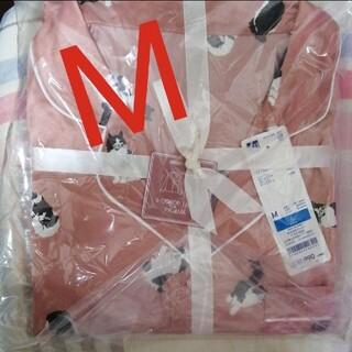 ジーユー(GU)のGU 長袖パジャマ 新品 サテンパジャマ ねこ キャット 猫ピンク(パジャマ)