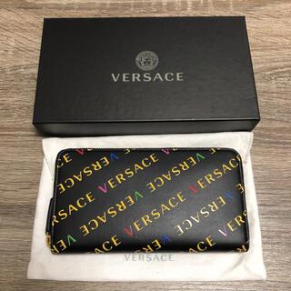 ヴェルサーチ(VERSACE)の美品 ヴェルサーチ ロゴ ラウンドファスナー 長財布 ブラック レザー(長財布)