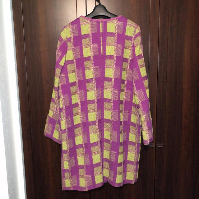 Lily Brown(リリーブラウン)のリリーブラウン  チェック 紫 黄緑 コート レディースのジャケット/アウター(チェスターコート)の商品写真