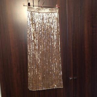 ココディール(COCO DEAL)のココディール ゴールド ベロア  プリーツ キラキラ ラメ 膝丈下スカート (ロングスカート)