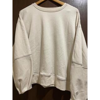 袖ゆるステッチトレーナー オフホワイト 白(トレーナー/スウェット)