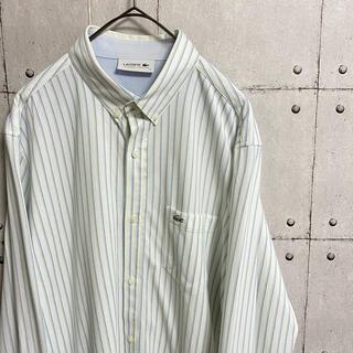 ラコステ(LACOSTE)のラコステ 刺繍ロゴ ストライプシャツ ブルー ホワイト 長袖(シャツ)