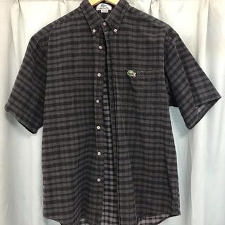 ラコステ(LACOSTE)のラコステ 黒 チェックシャツ 半袖 ブラック 古着(シャツ)