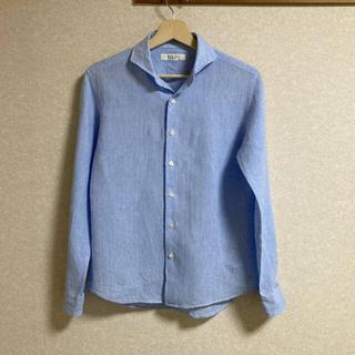 エディフィス(EDIFICE)の◇美品◇edifice/エディフィス リネンシャツ Sサイズ 送料無料 ブルー(シャツ)
